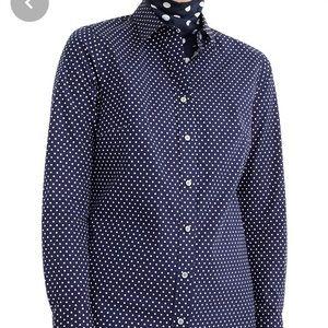J Crew polka dot slim stretch perfect shirt